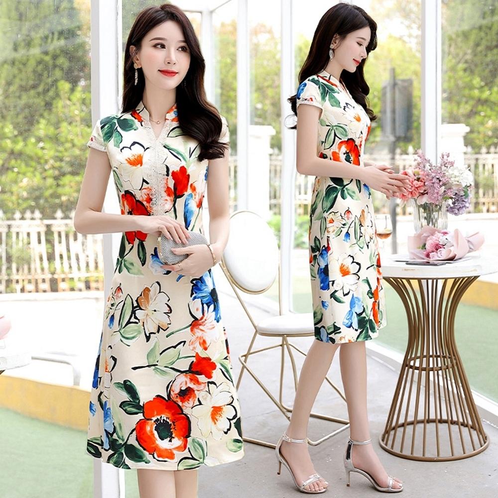 法式亮麗印花小立領改良式旗袍洋裝M-3XL(共二色)-SZ product image 1