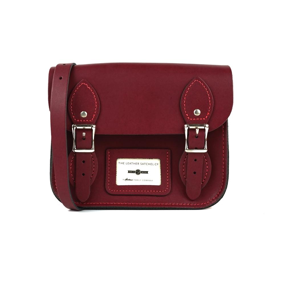 The Leather Satchel 英國手工牛皮劍橋包 肩背包 葡萄紅 8.5吋