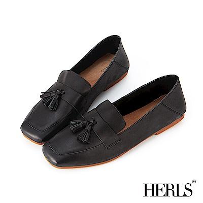 HERLS 柔軟全真皮流蘇方頭樂福鞋-黑色
