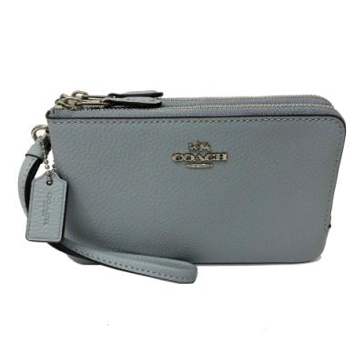 COACH L型雙層拉鍊手拿包零錢包(全皮-霧藍)