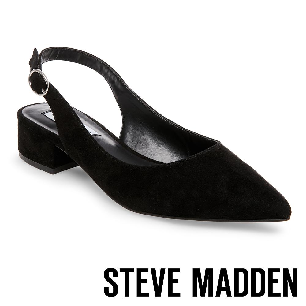 STEVE MADDEN-PATRON 氣質麂皮尖頭粗中跟鞋-絨黑