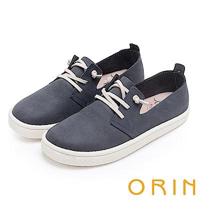 ORIN 雲朵般的舒適輕柔 牛皮免綁鞋帶休閒鞋-藍色