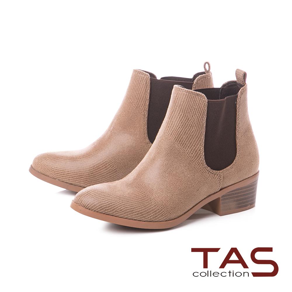 TAS素面質感側鬆緊帶粗跟短靴-淺卡其