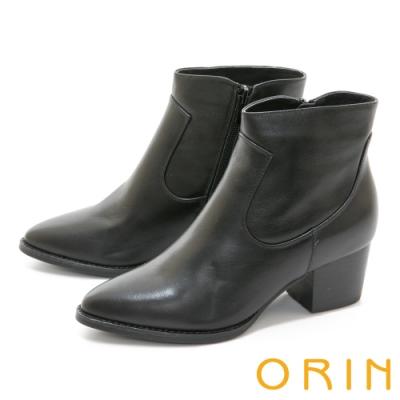 ORIN 俐落時髦真皮素面粗跟 女 短靴 黑色
