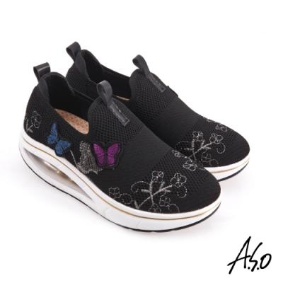 A.S.O 活力雙核心+_蝴蝶繡片直套式休閒鞋-黑色