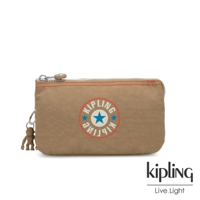 Kipling 復古卡其撞色大LOGO三夾層配件包-CREATIVITY L