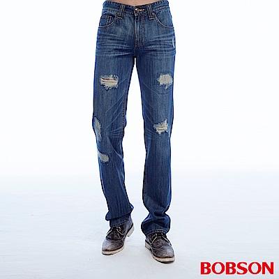 BOBSON 男款低腰刷破深藍直筒褲