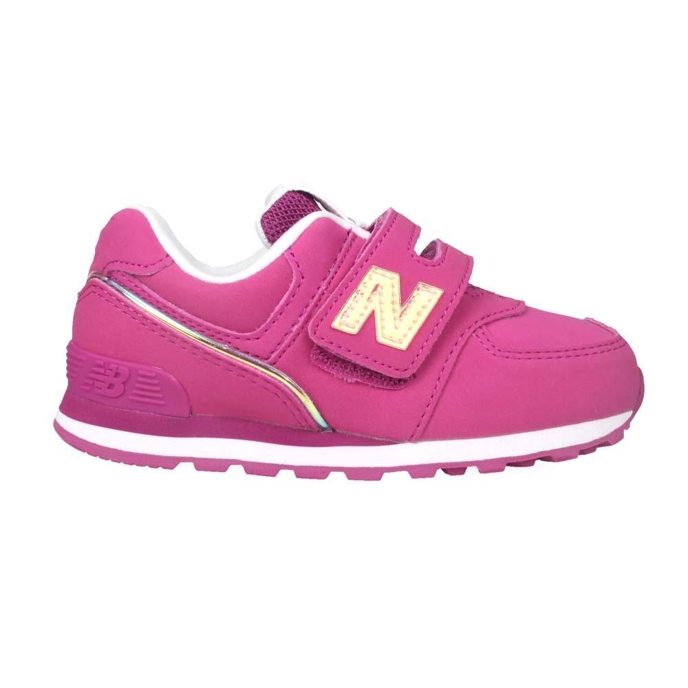 NEWBALANCE 男女小童復古慢跑鞋-WIDE-N字鞋 魔鬼氈 寬楦 NB IV574MTP 紫香檳粉