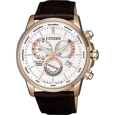 CITIZEN 星辰 光動能萬年曆手錶-白x玫瑰金框/42mm(BL8153-11A)