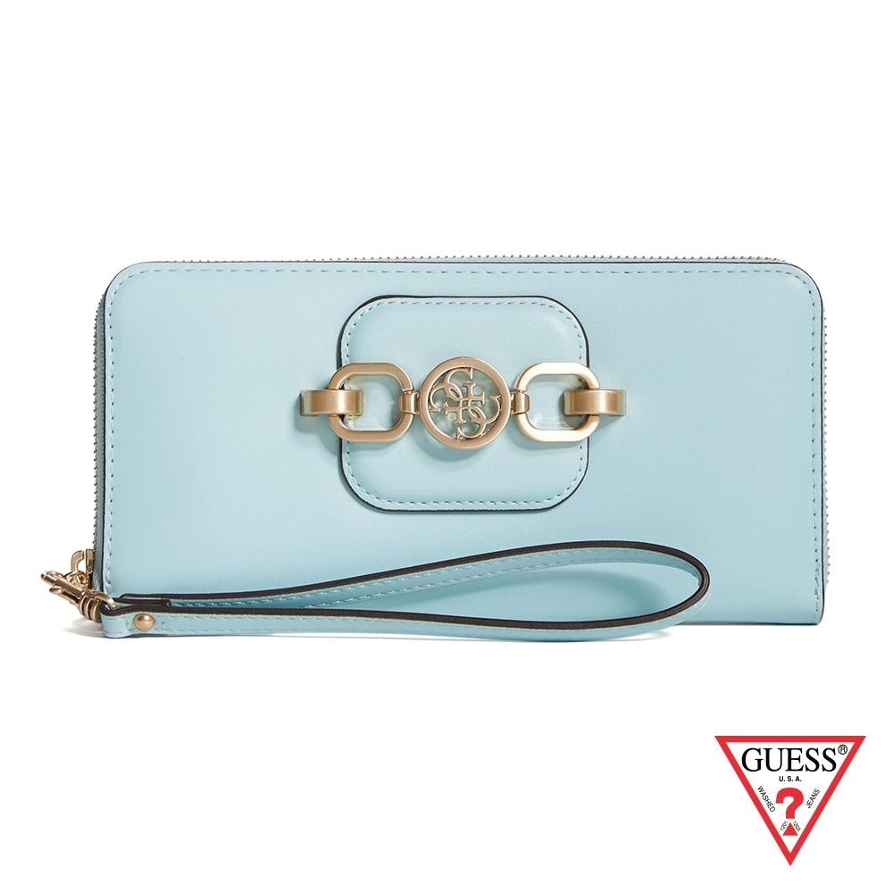 GUESS-女夾-氣質金屬飾扣手拿長夾-藍 原價1690