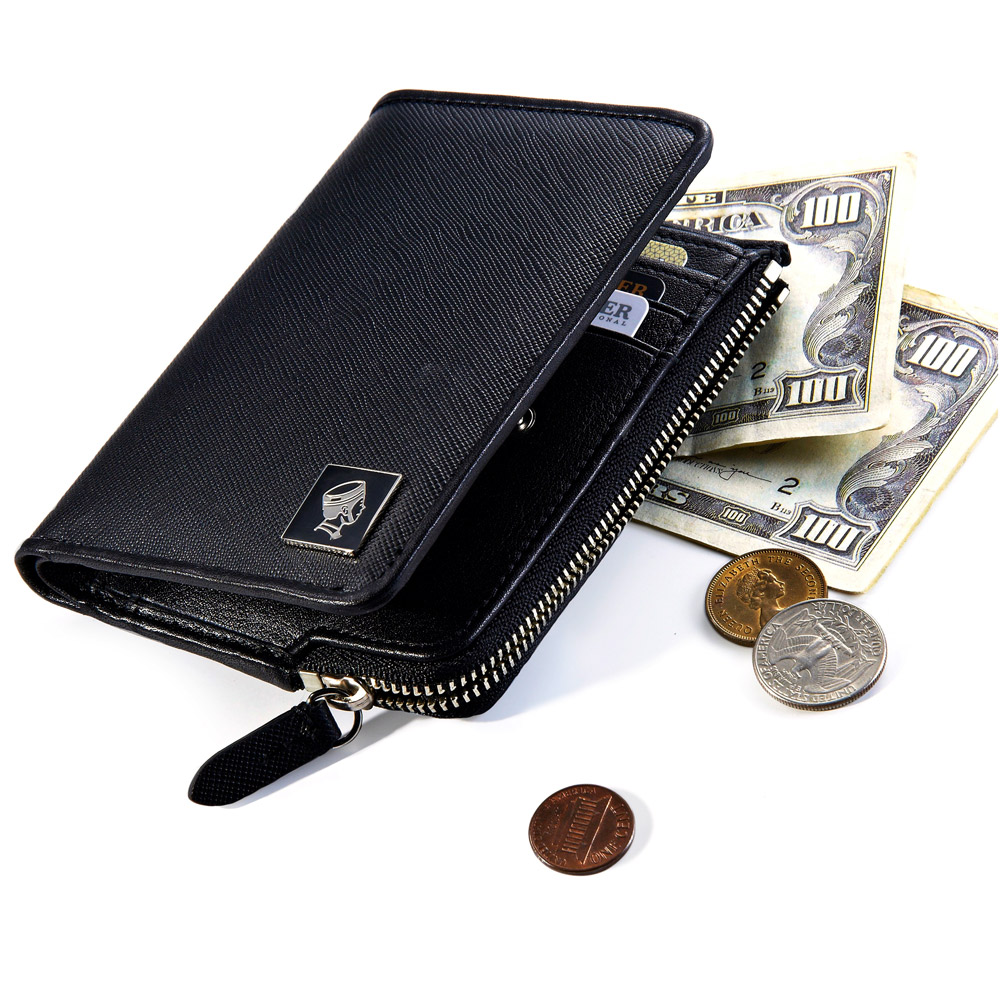 PORTER - 法式時尚 BEND 造型零錢皮夾 - 黑