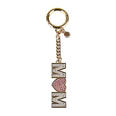 MK MICHAEL KORS CHARMS金屬字母MOM鑲鑽設計吊飾鑰匙圈(淡粉)