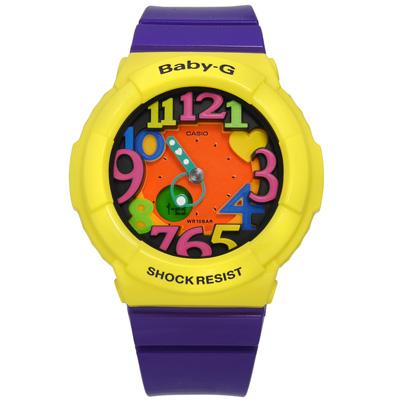 BABY-G 繽紛霓虹立體刻度夜光雙顯腕錶(BGA-131-9B)-黃x紫色/42mm