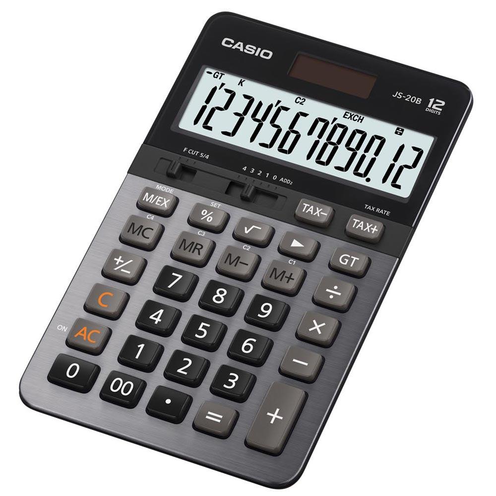 CASIO卡西歐12位元商用計算機-JS-20B(黑/灰)