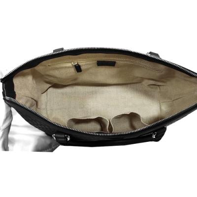 GUCCI 古馳 經典雙G緹花全皮革壓紋手提斜背兩用托特包(黑色)