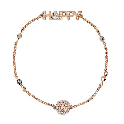 SWAROVSKI施華洛世奇璀璨Happy字母水晶墜飾玫瑰金磁扣式手鍊手環