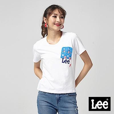Lee 口袋反轉短版T恤/RG-寬鬆版-白