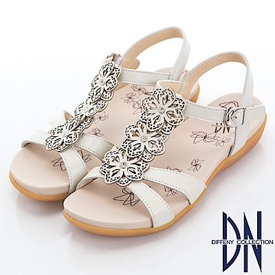 DN 花團錦簇 MIT牛皮電雕花朵涼鞋-白