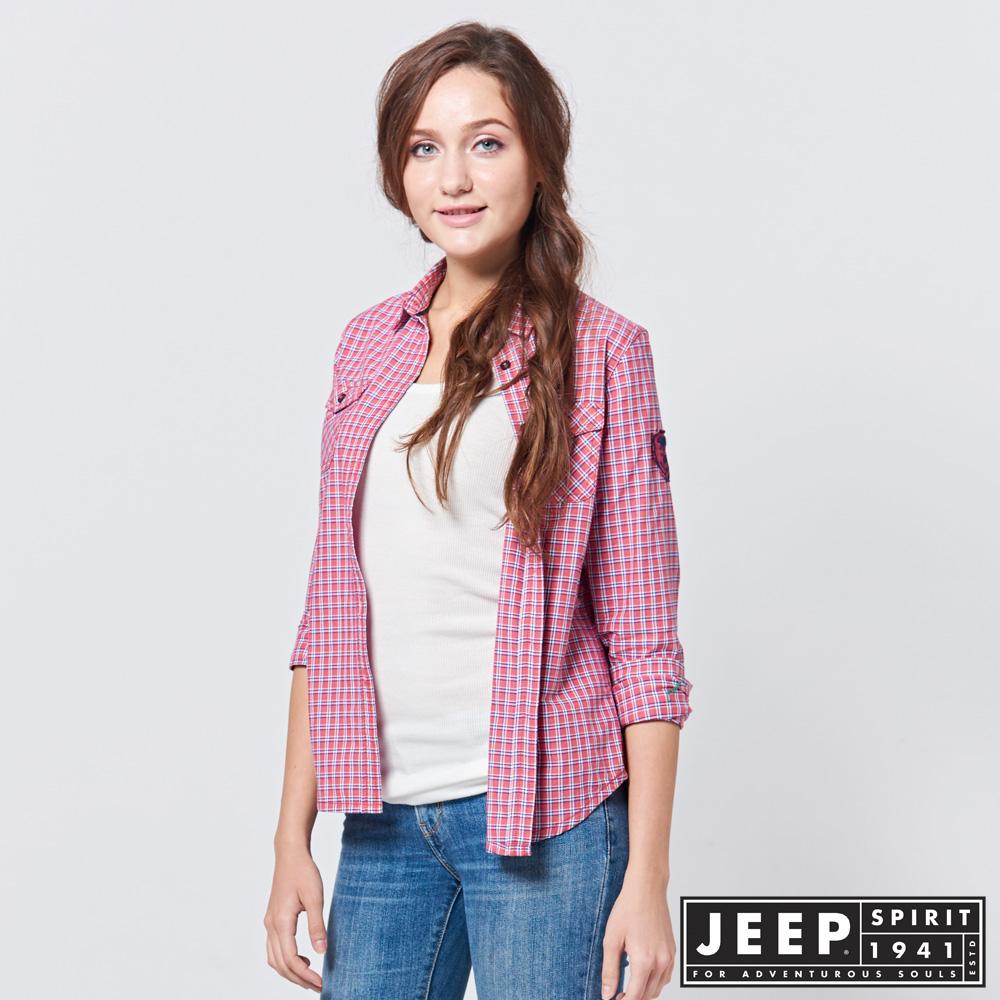 JEEP 女裝 輕甜復古格紋長袖襯衫 -紅色
