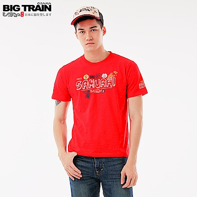 BigTrain 武將文字圓領短袖-男-紅色