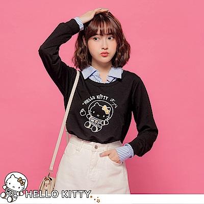 台灣製造~太空KITTY直紋襯衫拼接假兩件式衛衣上衣-OB大尺碼