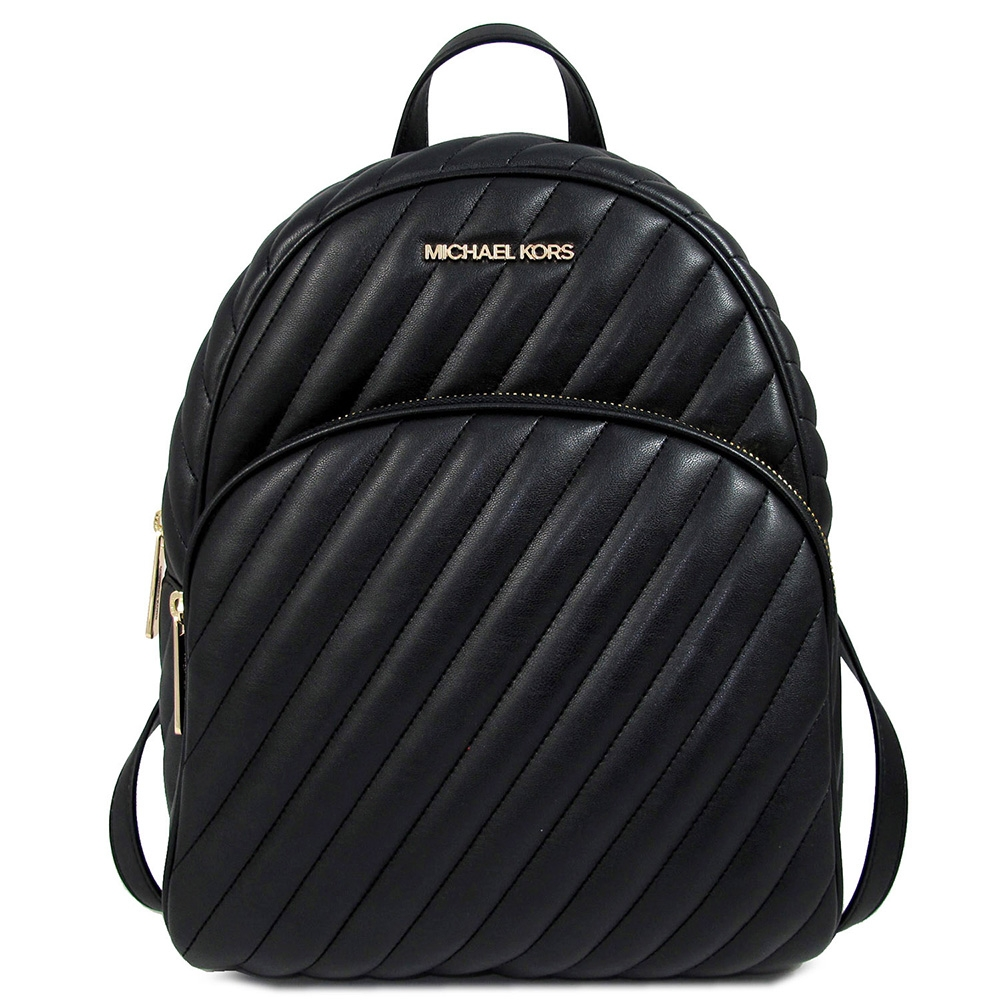 MICHAEL KORS Abbey大款 金字Logo羊皮質感绗縫斜紋前口袋雙肩後背包(黑色)