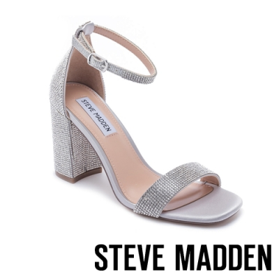 STEVE MADDEN-GIGI-R 驚豔水鑽 細帶繞踝粗跟涼鞋-銀色