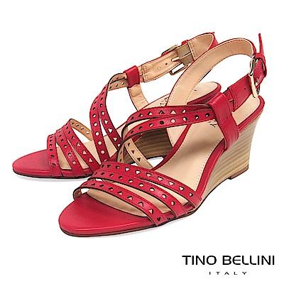 Tino Bellini 巴西進口牛皮沖孔羅馬線條楔型涼鞋 _ 紅