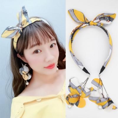 梨花HaNA 韓國花漾鎖鏈復古花紋兔耳朵耳環髮箍