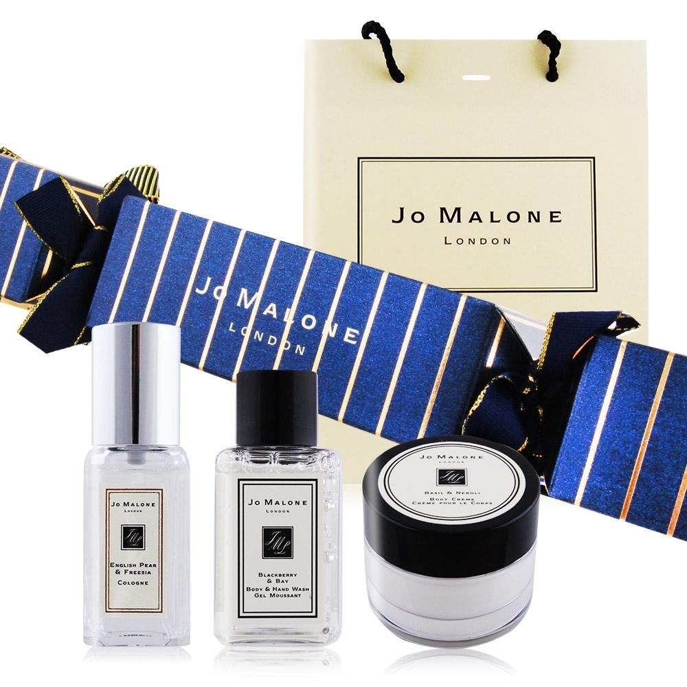 Jo Malone聖誕拉炮-香氛妝飾組[藍金]英國梨香水+黑莓子潔膚露+羅勒潤膚霜附提袋