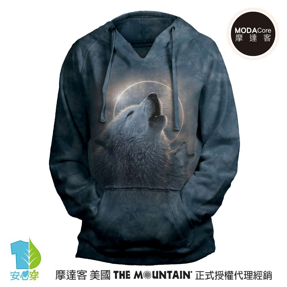摩達客 預購 美國進口The Mountain 日蝕狼嚎 女版V領長袖連帽T恤
