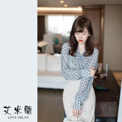 艾米蘭-韓版衣領綁結波點上衣-藍(S-XL)