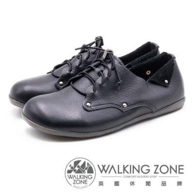 WALKING ZONE 超柔軟牛皮綁帶休閒鞋 女鞋-黑(另有可可色)
