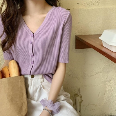 La BellezaV領素色細坑條開釦針織短版外套