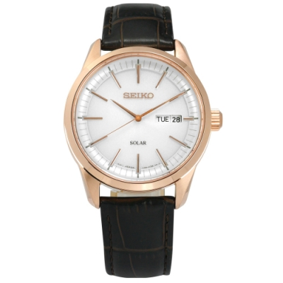 SEIKO 精工 太陽能 藍寶石水晶玻璃 壓紋牛皮手錶-白x玫瑰金框x深褐/40mm