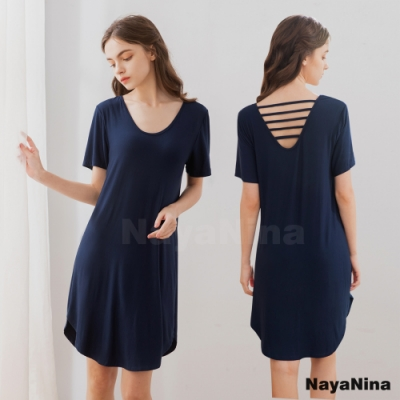 Naya Nina 輕柔涼感冰絲微露挖背無鋼圈BRA罩杯短袖居家服睡裙(典雅藍)
