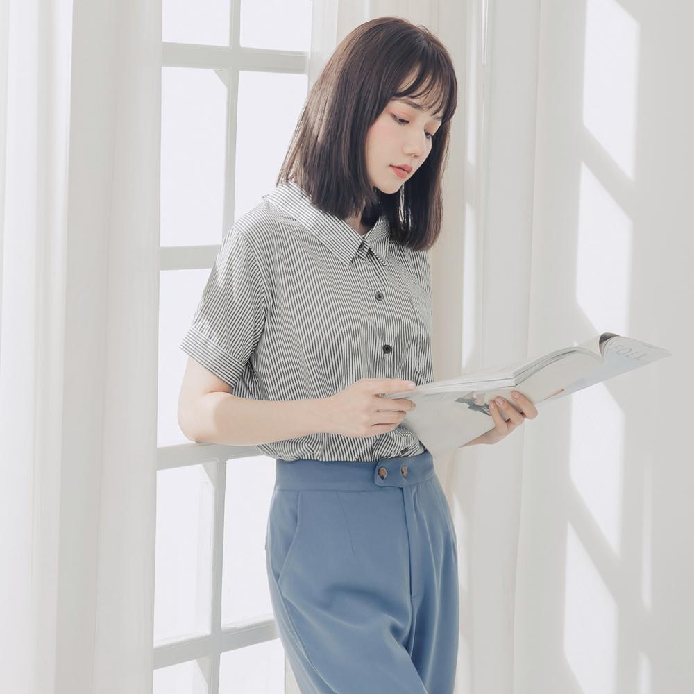 高含棉配色條紋後綁帶前短後長短袖襯衫-OB大尺碼