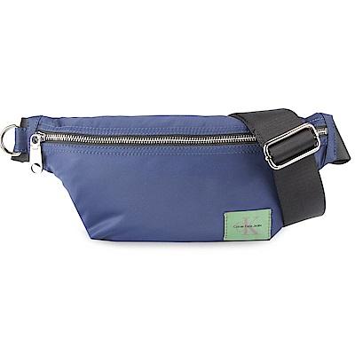 Calvin Klein 經典尼龍LOGO斜背包-藍色