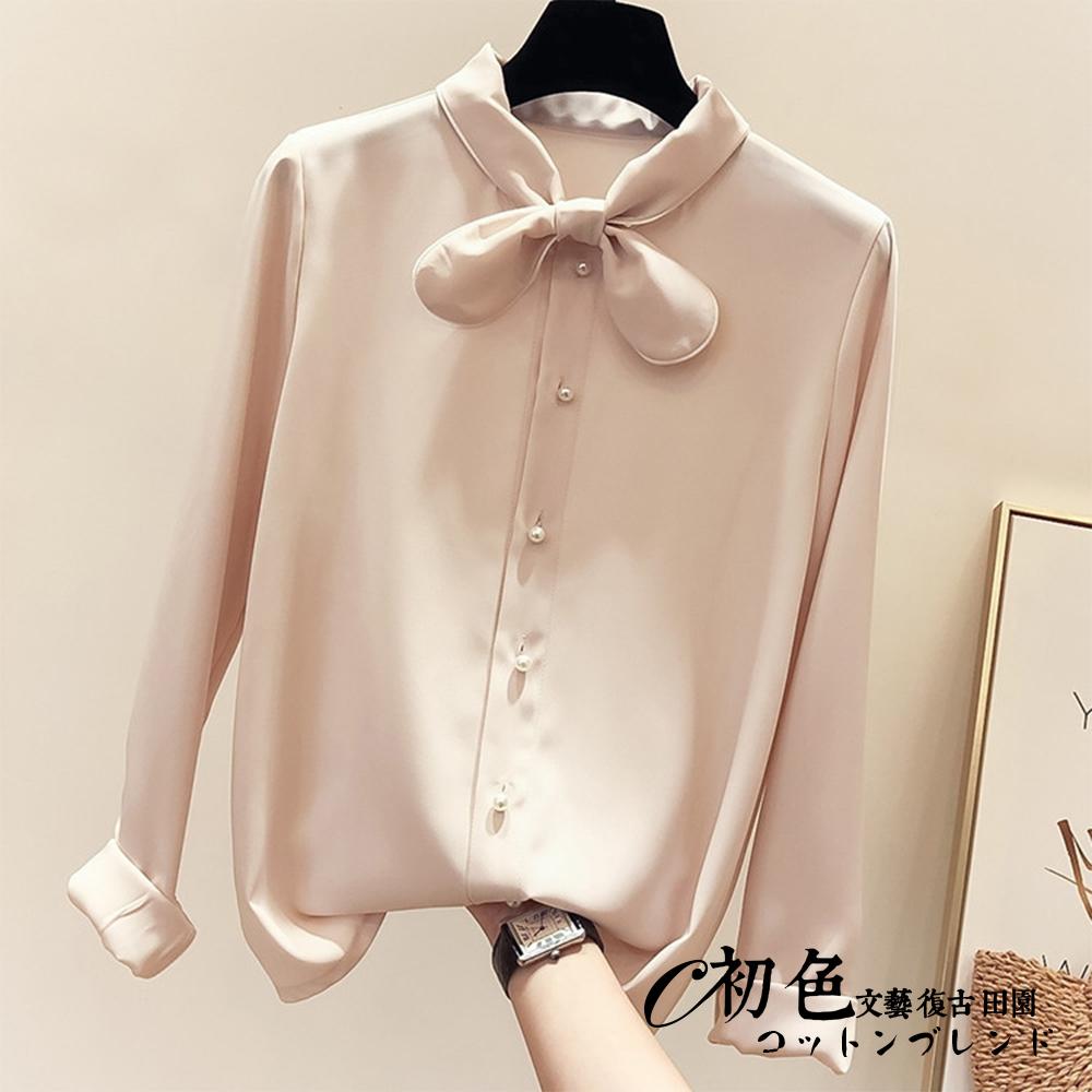 小領結百搭襯衫-共3色(M-XL可選)  初色