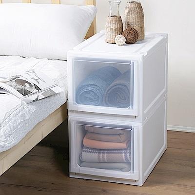 創意達人x樹德白色積木系統式平面加高單抽收納櫃(33L)2入