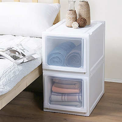 創意達人x樹德 白色積木系統式平面加高單抽收納櫃(33L)2入