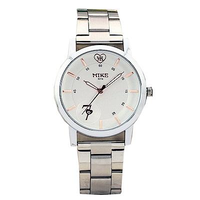 Mirabelle 思慕愛意 線型不鏽鋼男錶 白面玫瑰金字39mm