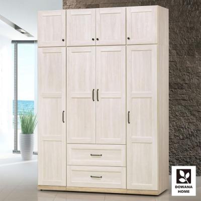 多瓦娜-鄉村茉莉5.3尺雙抽左右開衣櫃(含被櫃)-157.7 總深55.5 總高229.7