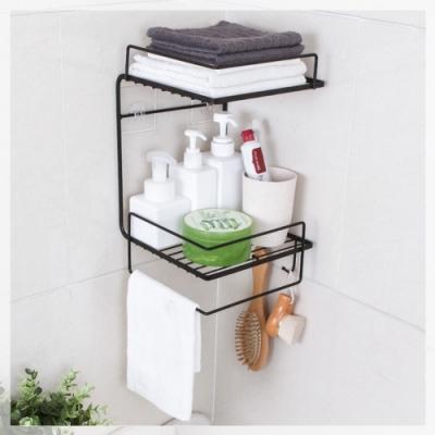 [限時下殺] ICR 浴室廚房無痕牆角收納置物架-2入組(贈無痕貼x4)
