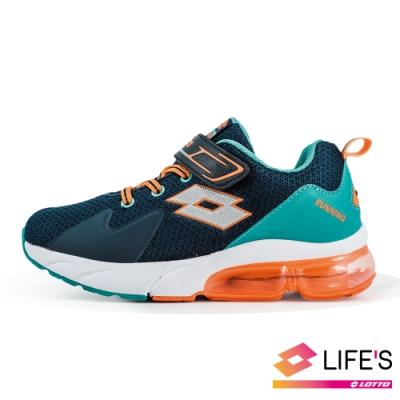 LOTTO 義大利 童 VOLARE RUN 氣墊跑鞋 (藍綠)