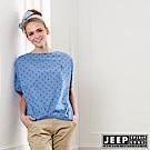 JEEP 女裝 點點造型短袖襯衫-藍色