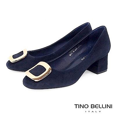 Tino Bellini 優雅氣質羊麂皮方釦中跟鞋 _ 藍