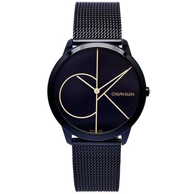 CK 極簡LOGO風格米蘭帶手錶(K3M214X1)-黑面x黑色/40mm