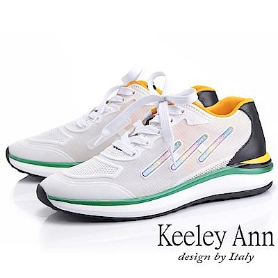 Keeley Ann 輕運動潮流 撞色疊層個性休閒鞋(白色-Ann系列)