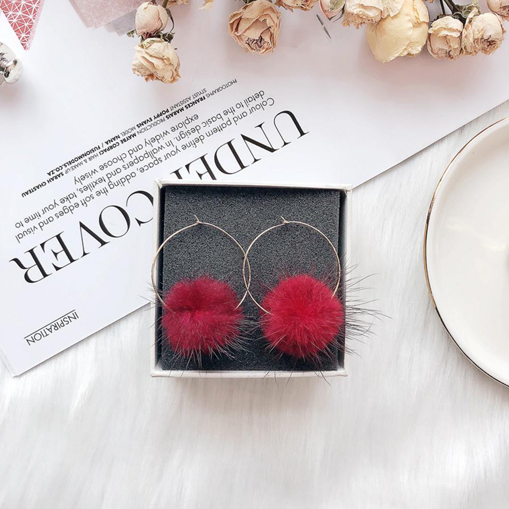 梨花HANA jolin MV款腦公主打歌配戴紅色毛毛球耳環
